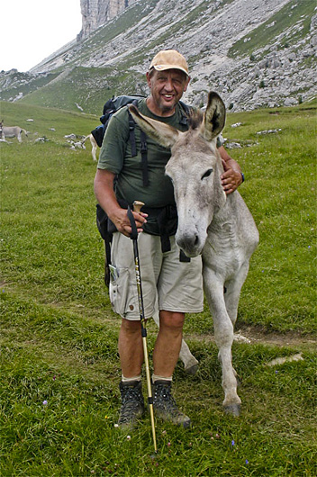Fred Triep after pacifying donkeys raiding his backpack